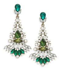 Cara | Green Multi-stone Fan Chandelier Earrings | Lyst