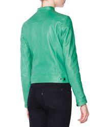 Tomas Maier - Green Asymmetric-zip Leather Moto Jacket - Lyst