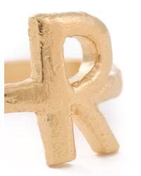 Bjorg | Metallic 'r Alphabet Ring' | Lyst
