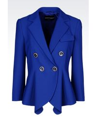 Emporio Armani | Blue Double-Breasted Jacket In Stretch Micro Fancy Weave | Lyst