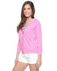 Splendid - Pink Slub Active Pigment Hoodie - Lyst