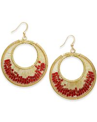 Style & Co. | Gold-tone Red Bead Gypsy Wire Hoop Earrings | Lyst