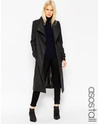 ASOS - Gray Tall Coat With Funnel Neck And Belt - Lyst
