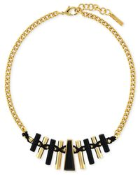Vince Camuto | Black Gold-tone Painted Stone Bar Necklace | Lyst