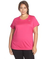 Nike - Pink 'miler' Dri-fit Extended Short Sleeve Top - Lyst