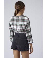 TOPSHOP - Black Long Sleeve Checked Shirt - Lyst