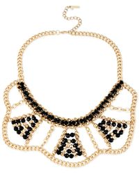 Steve Madden | Metallic Gold-Tone Mixed Bead Bib Frontal Necklace | Lyst