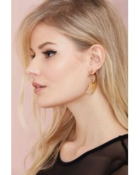 Nasty Gal - Metallic Wing And A Prayer Tunnel Earrings - Lyst