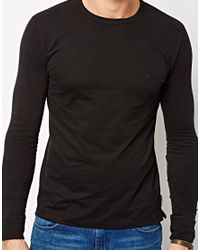 French Connection - Black Long Sleeve Top Sneezy Crew for Men - Lyst