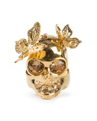 Alexander McQueen | Metallic Embellished Butterfly Skull Ring | Lyst