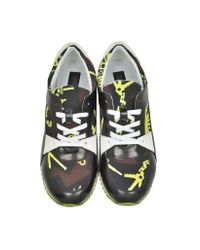 KENZO - Black Monsters Leather And Nylon Sneaker - Lyst