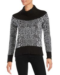 1a6aef3e95359a Lyst - Michael Michael Kors Petite Turtleneck Leopard Print Sweater ...