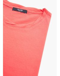 Mango - Red Essential Cotton-blend T-shirt - Lyst