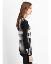Vince | White Wool Blend Intarsia Stripe Crew Neck Sweater | Lyst