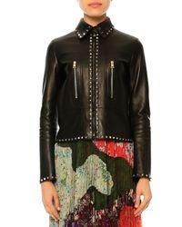 Valentino - Black Rockstud Leather Jacket - Lyst