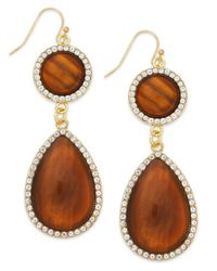 INC International Concepts - Metallic Gold-tone Crystal Pavé Tiger's Eye Teardrop Earrings - Lyst