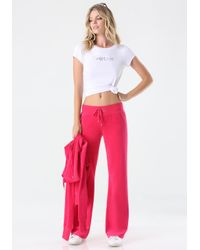 Bebe | Pink Logo Velour Pants | Lyst
