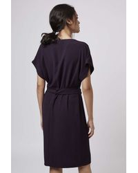 TOPSHOP | Purple V-neck Belted Midi Dress | Lyst