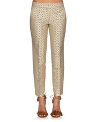 Etro - Metallic Geometric-jacquard Slim-leg Cropped Trousers - Lyst