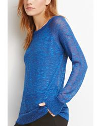 Forever 21 | Blue Marled Loose-knit Raglan Sweater | Lyst