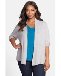 Eileen Fisher | Metallic Angle Front Cardigan | Lyst