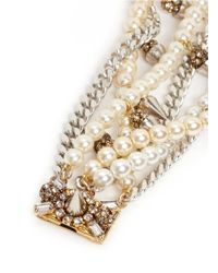 Erickson Beamon - Metallic 'debutante' Faux Pearl Crystal Spike Chain Tier Bracelet - Lyst