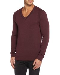 Calvin Klein | Brown Caleb V Neck Long Sleeve Sweater for Men | Lyst