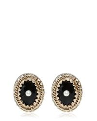 Givenchy - Black Crystal Earrings With Imitation Pearl - Lyst