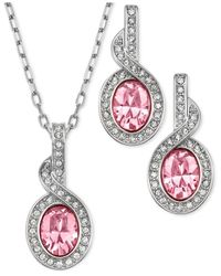 Swarovski | Pink Rhodium-Plated Light Rose Crystal Pendant Necklace And Drop Earrings | Lyst