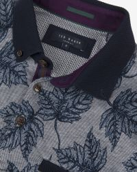 Ted Baker | Blue Leaf Print Polo Shirt for Men | Lyst