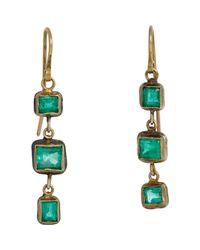 Judy Geib - Metallic Emerald Triple-drop Earrings - Lyst