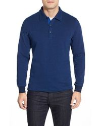 Bugatchi | Blue Long Sleeve Knit Polo for Men | Lyst