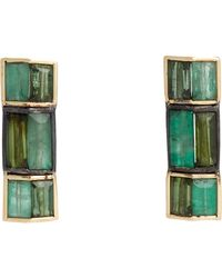 Nak Armstrong | Green Rectangular Button Studs | Lyst