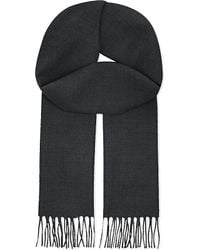 Lanvin | Gray Embroidered Logo Cashmere Scarf for Men | Lyst