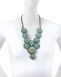 Panacea | Blue Beaded Circle Rope Statement Necklace | Lyst