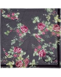 McQ - Gray Grey and Pink Silk Houndstooth Floral Scarf - Lyst