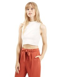 TOPSHOP | Natural Wrap Front Crop Shell | Lyst