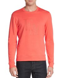 Emporio Armani | Pink Logo-embroidered Sweatshirt for Men | Lyst