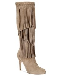 INC International Concepts | Brown Tomi Fringe Tall Dress Boots | Lyst