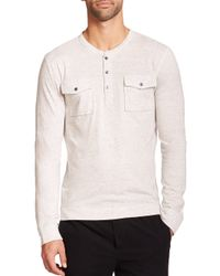 Vince - White Long Sleeve Two-pocket Henley for Men - Lyst