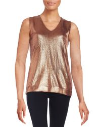Anne Klein | Red Shimmer-knit Sweater Vest | Lyst