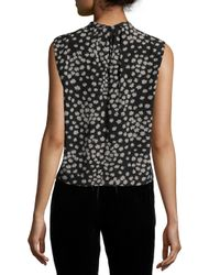 Rebecca Taylor - Multicolor Sleeveless Floral Chiffon Top - Lyst