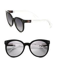 Fendi | Black Colorblocked 55mm Round Sunglasses | Lyst