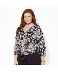 Lauren by Ralph Lauren - Black Floral Smocked Cotton Top - Lyst