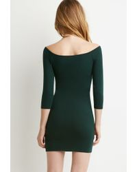 Forever 21 - Green Off-the-shoulder Bodycon Dress - Lyst