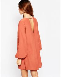 ASOS - Natural Pretty Dress With Soft Lace Up Front - Lyst