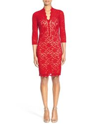 Karen Kane | Red Split Neck Lace Dress | Lyst