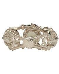 Alexander McQueen - Metallic Silver & Crystal Twin Skeletons Ring - Lyst