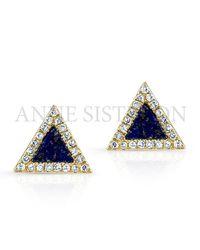 Anne Sisteron | Black 14kt Yellow Gold Lapis Lazuli Diamond Triangle Stud Earrings | Lyst