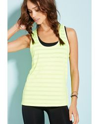 Forever 21 - Yellow Burnout Stripe Workout Tank - Lyst